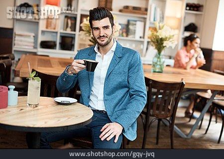 Man, Drinking, Coffee, Cafe